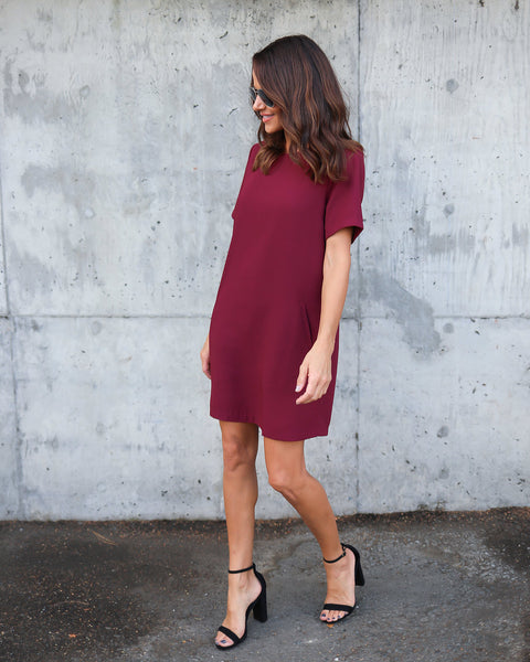 Sophia Pocketed Shift Dress - Wine