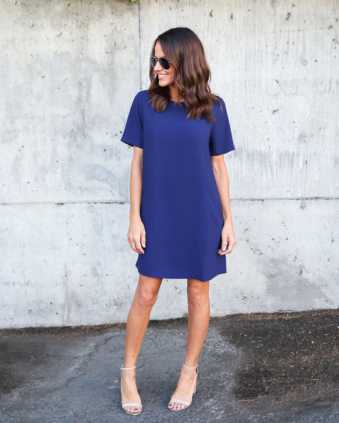 Sophia Pocketed Shift Dress - Navy