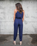 Smooth Talker Pocketed Jumpsuit - Navy