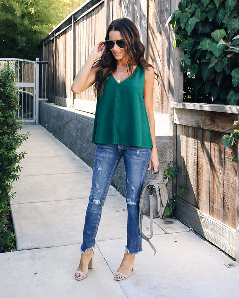 Becka V-Neck Top - Pinetree