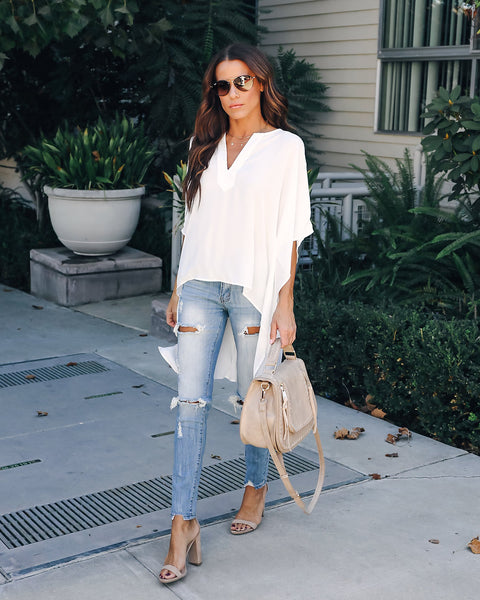 World's A Stage High Low Kimono Top - Off White