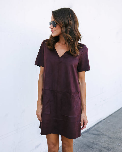 Raise The Bar Pocketed Faux Suede Shift Dress - Wine