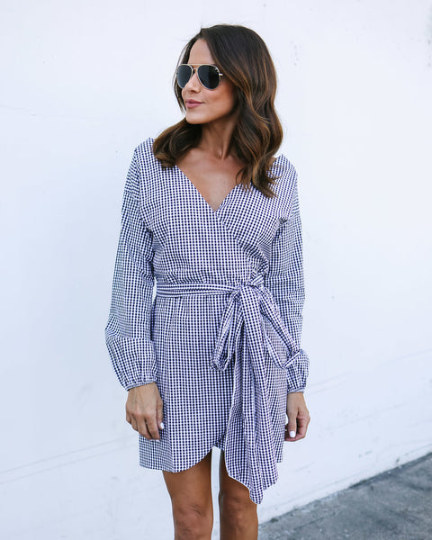 Gather Round Gingham Wrap Dress