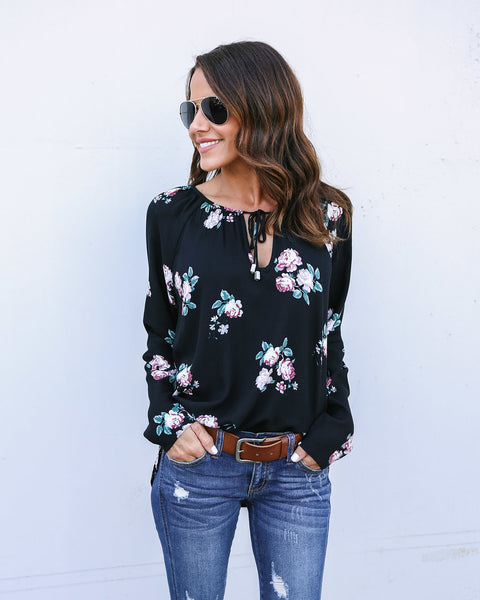 From The Garden Blouse - Black