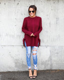 Keep Me Warm Tie Sweater - Burgundy