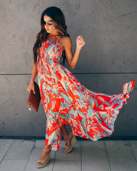 Heat Wave Smocked Printed Maxi Dress - FREE PEOPLE