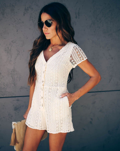 Catch Of The Day Pocketed Crochet Romper - FINAL SALE