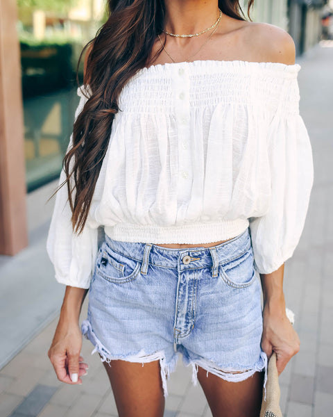 Dancing Till Dawn Cotton Off The Shoulder Top - FREE PEOPLE