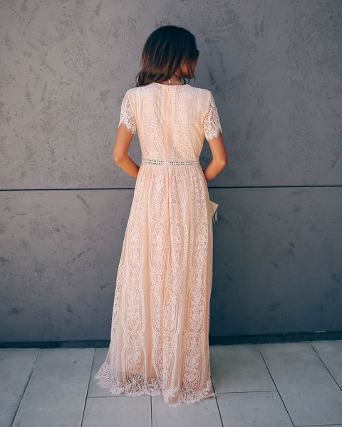 Fill Your Heart Lace Maxi Dress - Blush