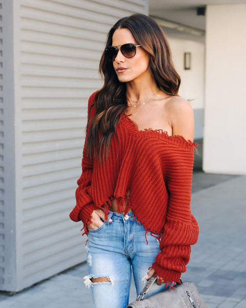 Tainted Love Cotton Distressed Sweater - Burnt Orange
