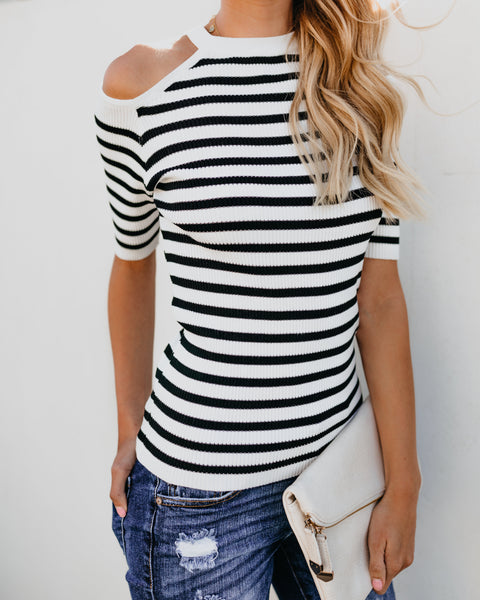 Tatyana Striped Cold Shoulder Top
