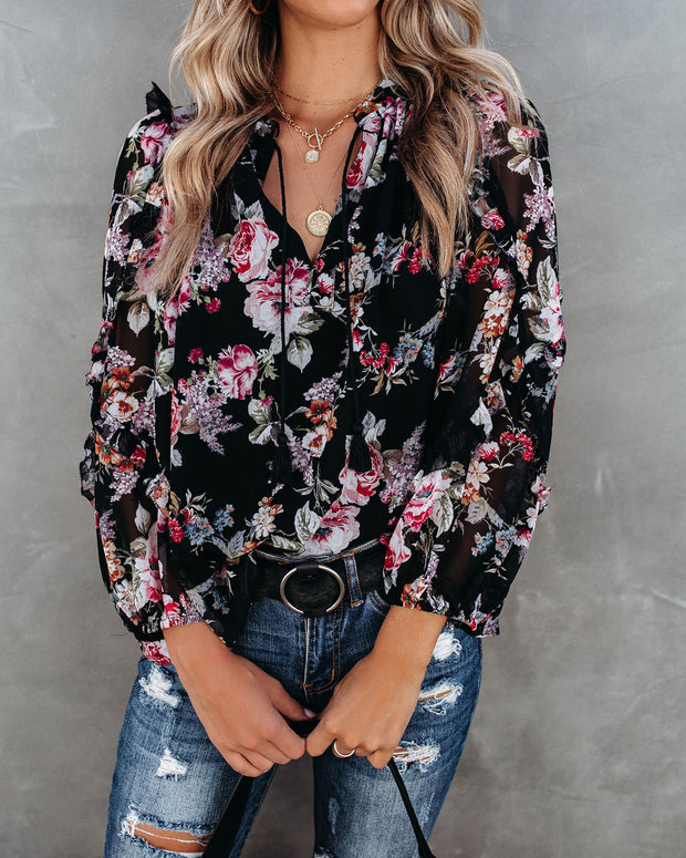 There For You Floral Ruffle Blouse
