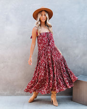 Think Twice Floral Tiered Tassel Midi Dress