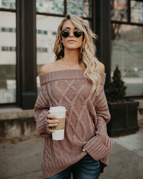 Whistler Off The Shoulder Sweater - Mauve