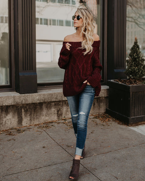 Whistler Off The Shoulder Sweater - Red Bean