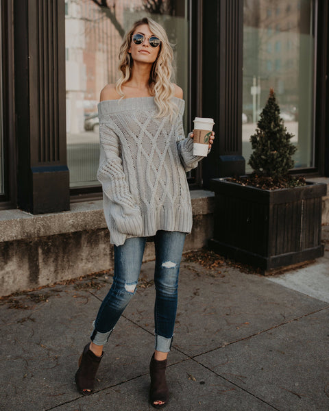 Whistler Off The Shoulder Sweater - Silver