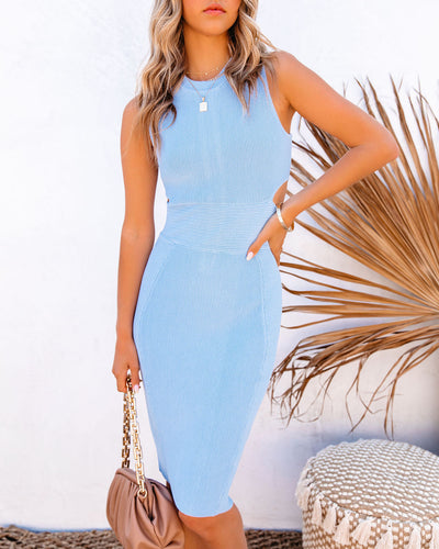 Tia Cutout Knit Bodycon Dress - Powder Blue