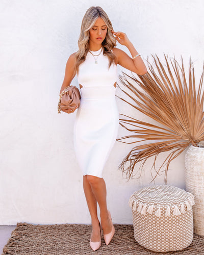 Tia Cutout Knit Bodycon Dress - White
