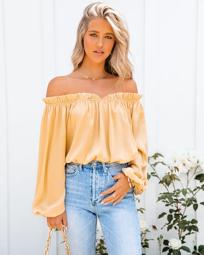 Time To Shine Satin Off The Shoulder Bodysuit