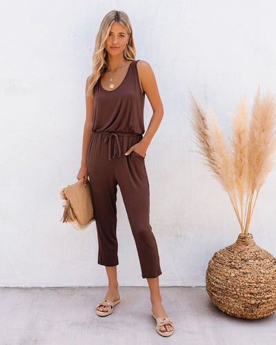 Tina Pocketed Knit Jumpsuit - Tobacco