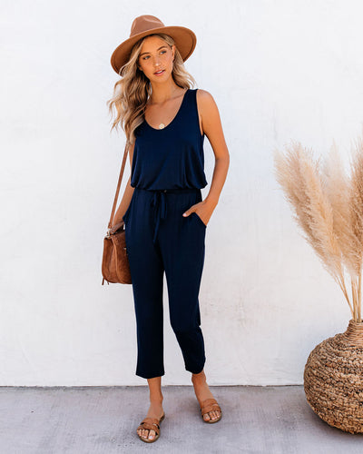 Tina Pocketed Knit Jumpsuit - Navy
