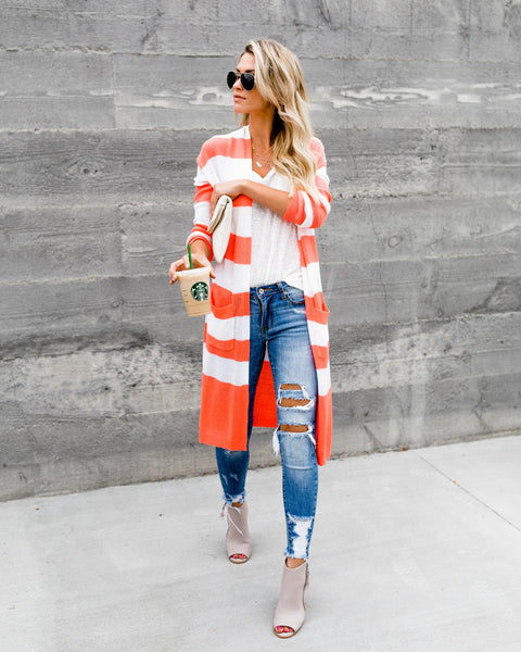 Too Haute Knit Pocketed Cardigan - Coral - FINAL SALE