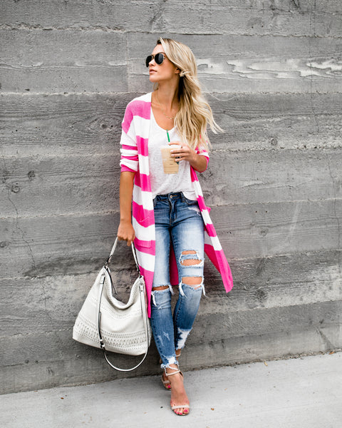 Too Haute Knit Pocketed Cardigan - Pink - FINAL SALE