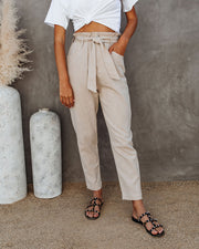 Top Notch Pocketed High Rise Tie Trousers - FINAL SALE