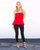 Trust Your Heart Peplum Top - Red - FINAL SALE