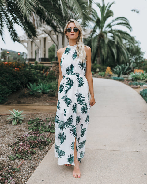 Tropical Savanna Halter Maxi Dress