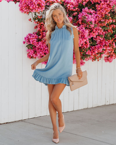 Twirly Sleeveless Chiffon Shift Dress - Denim Blue