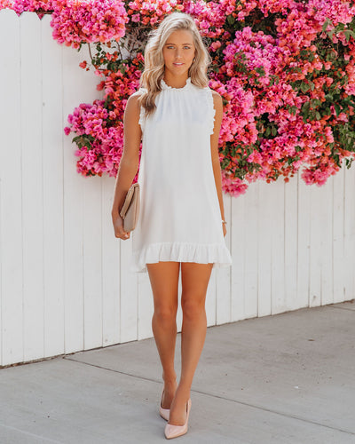 Twirly Sleeveless Chiffon Shift Dress - White