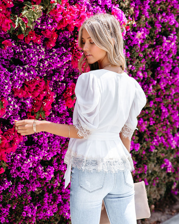 Tyrell Puff Sleeve Lace Peplum Blouse - Ivory view 2