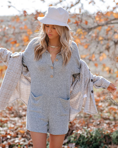 Under The Stars Pocketed Collared Knit Romper