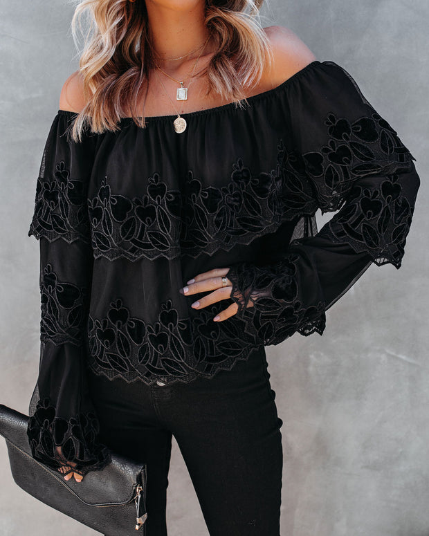 Unstoppable Off The Shoulder Velvet Lace Top view 1