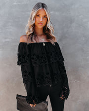Unstoppable Off The Shoulder Velvet Lace Top view 8