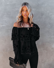 Unstoppable Off The Shoulder Velvet Lace Top view 3