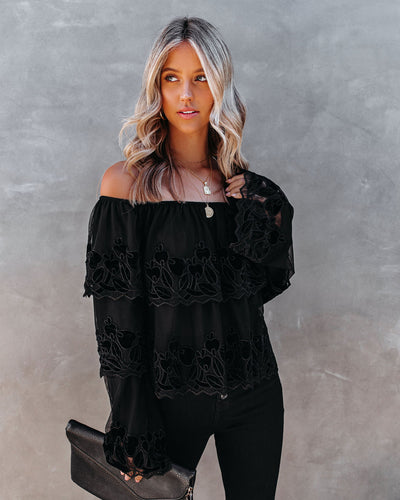 Unstoppable Off The Shoulder Velvet Lace Top