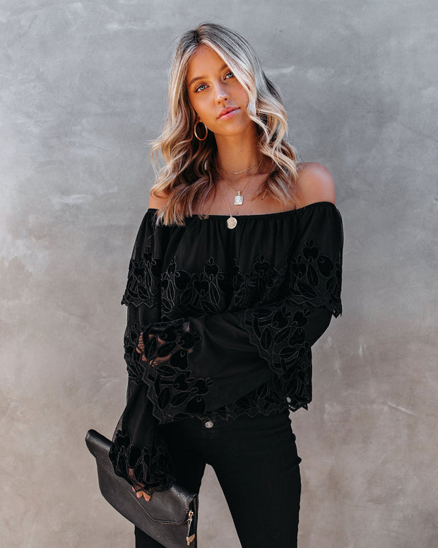 Unstoppable Off The Shoulder Velvet Lace Top view 6