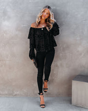 Unstoppable Off The Shoulder Velvet Lace Top view 9