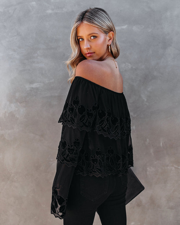 Unstoppable Off The Shoulder Velvet Lace Top view 2