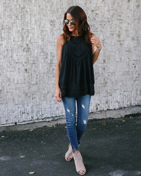 Mixed Feelings Lace Top - Black