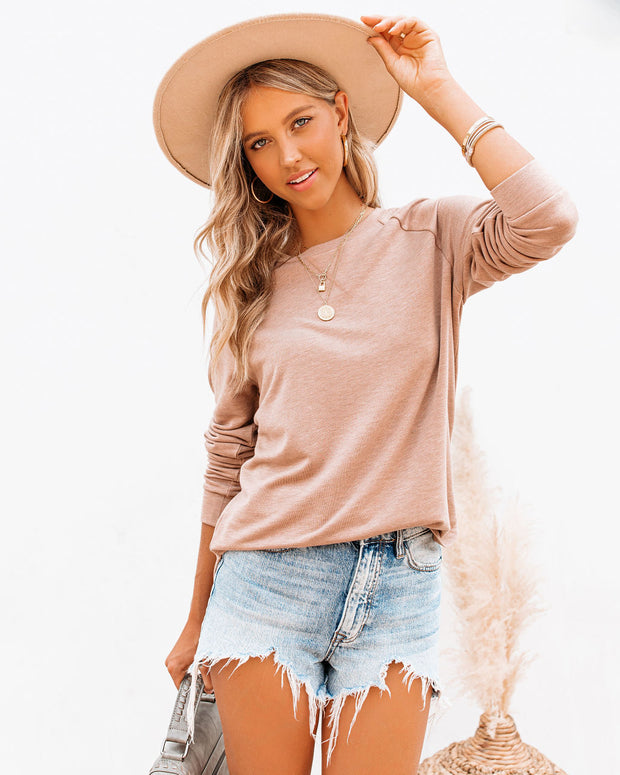 Unwind Knit Raglan Top - Brown Sugar