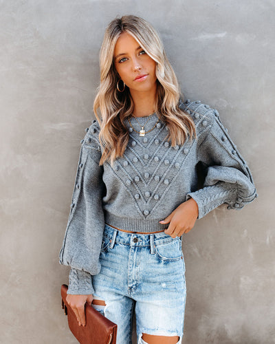 Upstage Cropped Balloon Sleeve Pom Sweater
