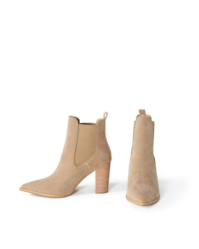 Uptown Faux Suede Heeled Bootie - Khaki