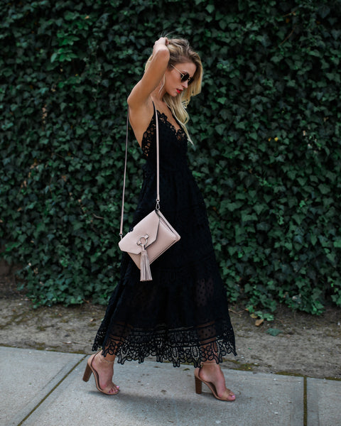 Spirited Lace Tiered Dress - Black