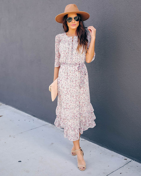 Carte Blanche Floral Ruffle Midi Dress