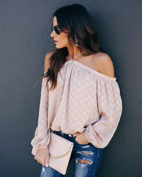 It's Bliss Embossed Cold Shoulder Blouse - Taupe