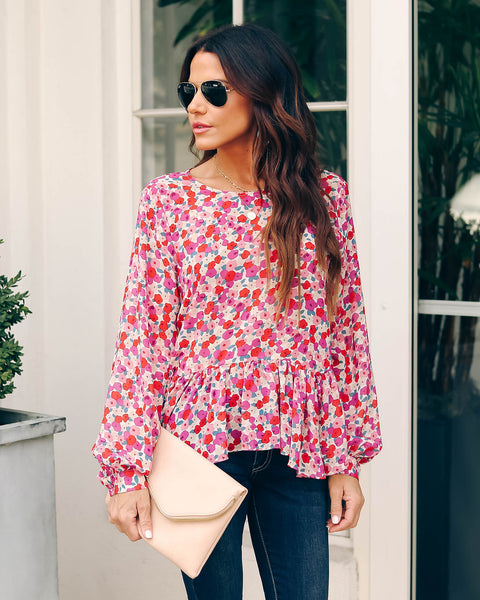 Wild Wishes Floral Peplum Blouse