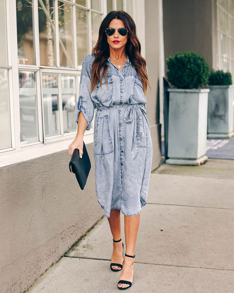 Graham Pocketed Tencel Button Down Midi Dress